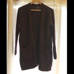 Abercrombie long cardigan (burgundy) - size XS